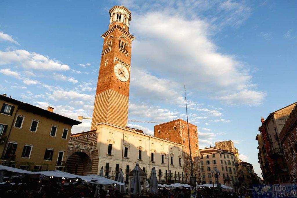 Башня-Торре-деи-Ламберти в Вероне. Италия
