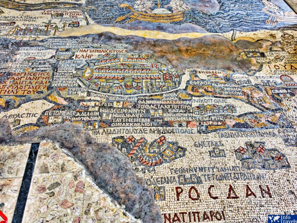 Карта священных христианских мест Мадаба
